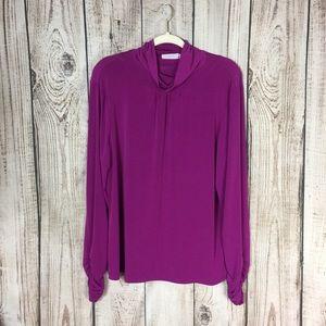 Susan Graver Purple Turtleneck Blouse XL